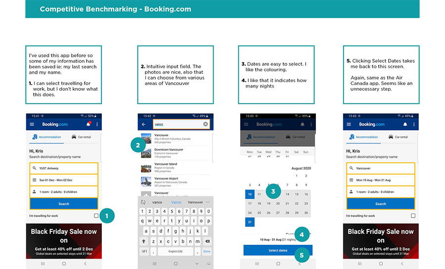 UX benchmark Booking.com
